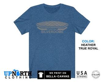 UpNorth Tee - Pontiac Silverdome (Gray Vintage Print) - Detroit Football Stadium - Michigan T-Shirt - Free Shipping