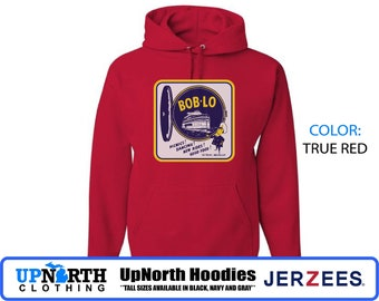UpNorth Hoodie - Boblo Boat Porthole - Hooded Pullover Sweatshirt - Bob-Lo Detroit Michigan - Tall Sizes Available
