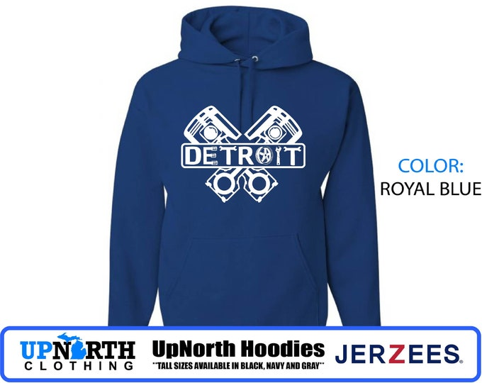 UpNorth Hoodies - Detroit Engine - Motor City Muscle - Hooded Pullover Sweatshirt - TALL SIZES Available - Detroit Michigan