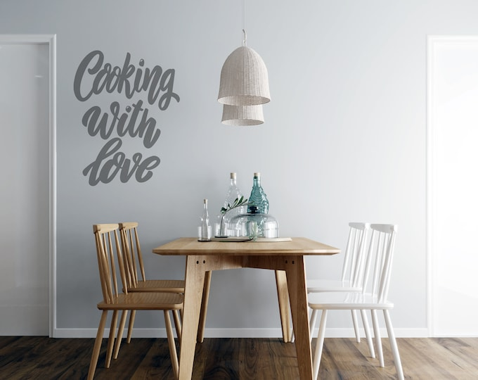 Cooking with Love - Kitchen  Vinyl Wall Decal - Multiple Sizes and Colors - Personalize for Free - Free Shipping