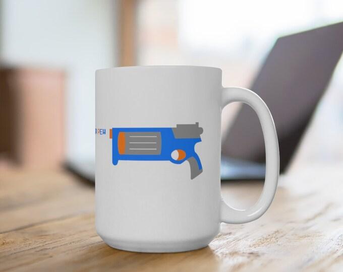 Ceramic Mug - Foam Dart Gun and Target - 11 or 15 oz. - Coffee Cup