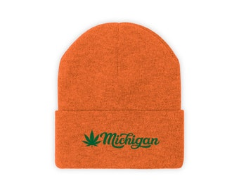 Embroidered Knit Hat - Michigan Marijuana