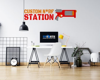 Foam Dart Gun with Custom Name - Custom Vinyl Wall Decal - Multiple Sizes and Colors - Personalize for Free - Free Shipping