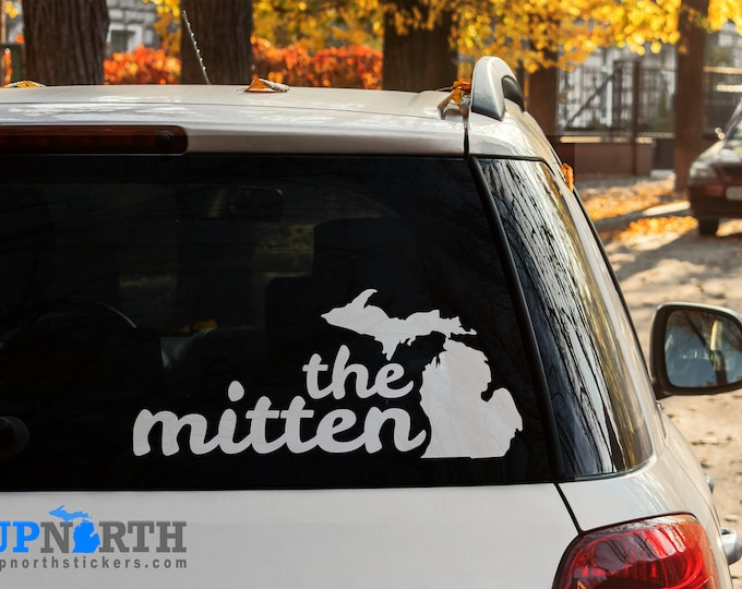 Michigan - The Mitten Cursive text  - Custom Vinyl Wall or Vehicle Decal - Free Shipping