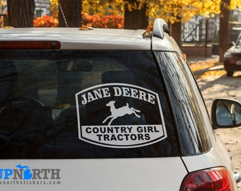 Jane Deere - Country Girl Tractors - Vinyl Vehicle or Wall Decal  - Multiple Sizes and Colors - Free Shipping