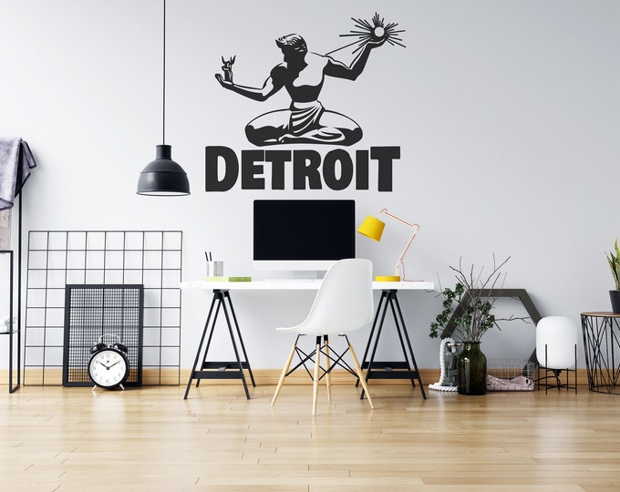 Detroit - Spirit of Detroit - Vinyl Wall Decal - Strong Michigan Roots - Multiple Sizes and Colors - Free Customization