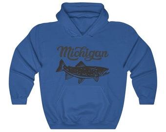 Hooded Sweatshirt - Michigan Fishing (gray)