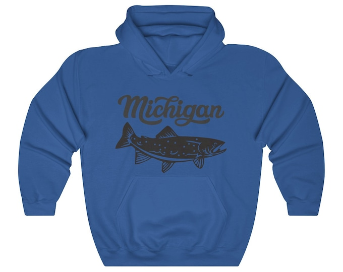 Hooded Sweatshirt - Michigan Fishing (gray)