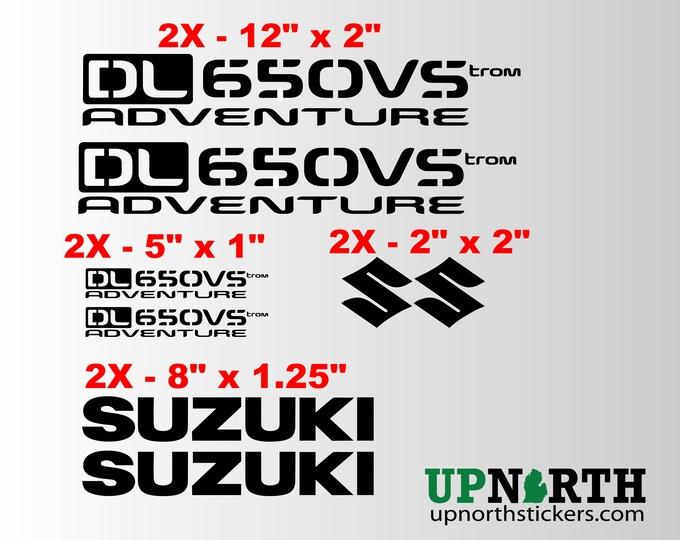 Vinyl Decal Set - Suzuki Vstrom - DL650VS or DL1000VS - Adventure Motorcycle - 8 TOTAL DECALS