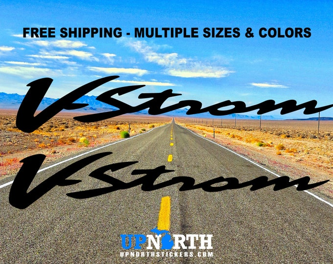 V-STROM - 2 DECAL SET - Custom Vinyl Decal - Multiple Colors and Sizes - Free Shipping - Suzuki Vstrom