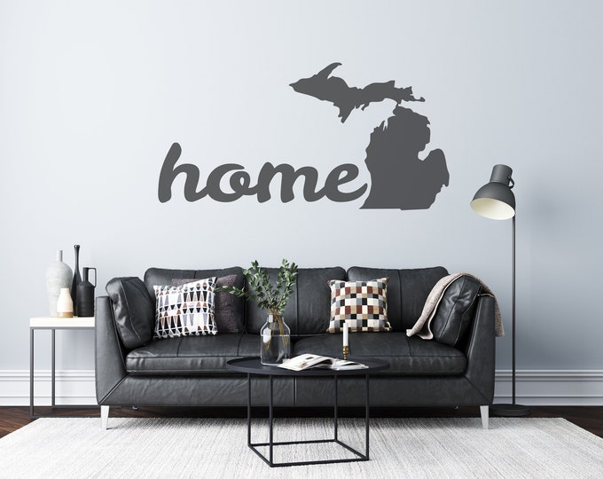 Michigan Home - Cursive Text - Custom Vinyl Wall or Vehicle Decal - Multiple Sizes and Colors - Personalize Free - Free Shipping