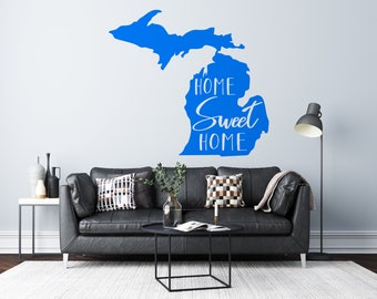 Michigan Home Sweet Home - Mitten  - Vinyl Wall Decal - Multiple Sizes and Colors - Free Customization