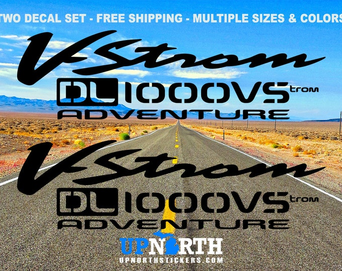 V-Strom DL1000 VS Adventure - Stencil Style Decal - 2 Decal Set - Custom Vinyl Decals - Multiple Colors and Sizes - Free Shipping