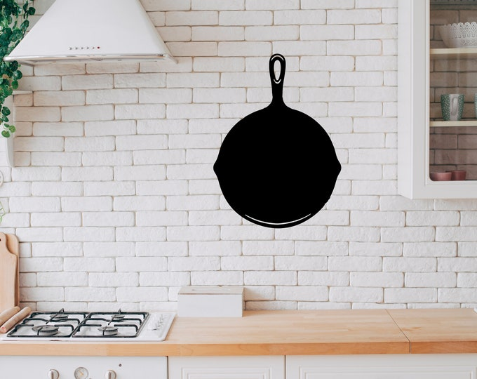 Frying Pan - Kitchen  Vinyl Wall Decal - Multiple Sizes and Colors -  Optional Free Customization