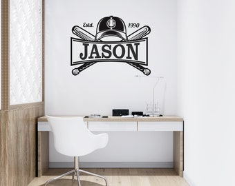 Baseball Bat and Hat - Personalized Baseball Vinyl Wall Decal - Multiple Sizes and Colors - Personalize for Free - Free Shipping