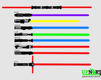 Light Sabers - COMPLETE SET - All 9 Light Sabers Included -  Separate decals so you can arrange how you want - Free Shipping