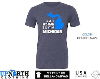 UpNorth Tee - That Woman from Michigan - Blue Mitten - Michigan Unisex T-Shirt - Free Shipping