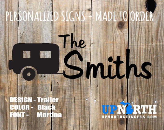 Personalized Family Name Decal - Trailer - Camper - Vinyl Wall or Vehicle Decal - Free Shipping