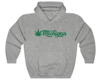 Hooded Sweatshirt - Michigan Marijuana (green)