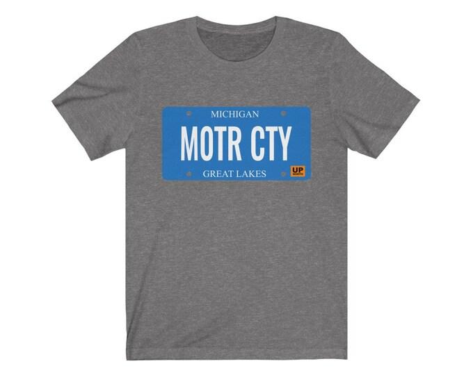 UpNorth Tee - MOTR CTY (Michigan license plate) - The Motor City - Detroit Michigan Shirt - Detroit T-Shirt