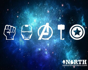 Avengers Icons - Vinyl Wall or Vehicle Decal  - Personalized Free
