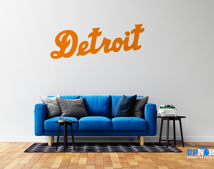 Detroit Cursive Text - Vinyl Wall Decal - Detroit Michigan - Multiple Sizes and Colors - Free Customization
