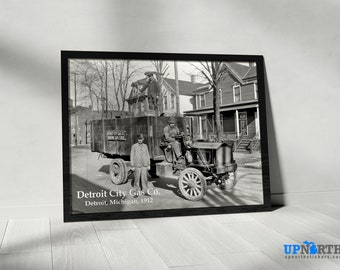 Photo Print - Detroit City Gas Co. - Downtown Detroit - Detroit Michigan - FREE SHIPPING