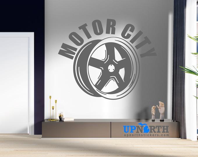 Motor City Wheel - Custom Vinyl Vehicle or Wall Decal - Detroit - Motor City - Motown - Free Shipping