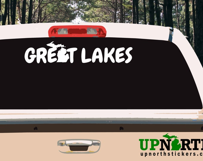 Great Lakes Michigan - Vinyl Vehicle or Wall Decal - Vifnyl Decal - Free Shipping