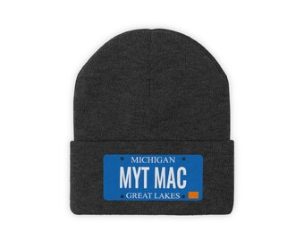 Embroidered Knit Hat - MYT MAC (License Plate)