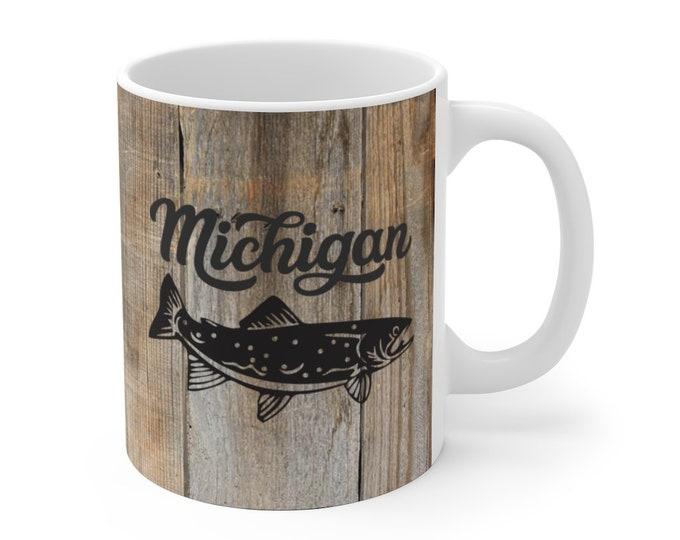 Ceramic Mug - Michigan Fishing (wood grain) - 11 oz or 15 oz