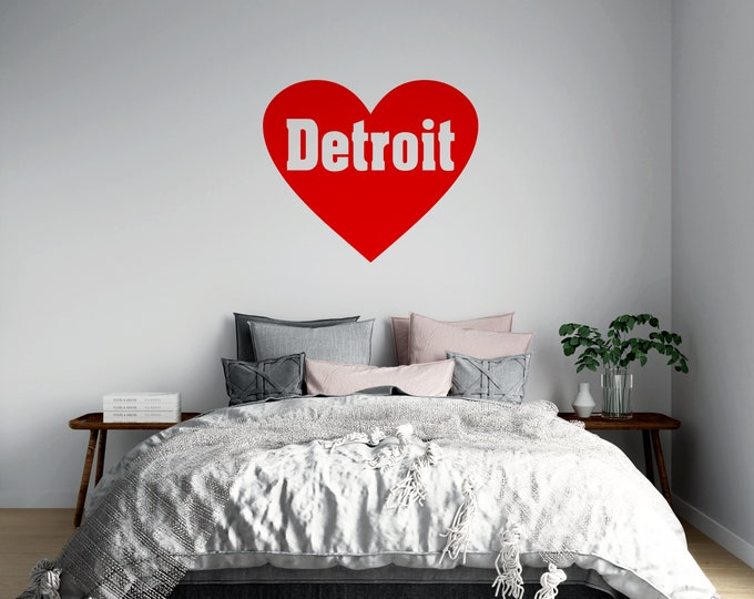 Love Detroit Heart - Wall or Vehicle Decal - Multiple Sizes and Colors to Choose From - Free Shipping - Detroit Michigan