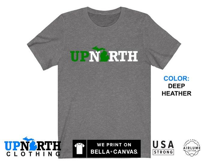 UpNorth Tee - Up North Michigan (green/white) - Michigan T-Shirt - Free Shipping