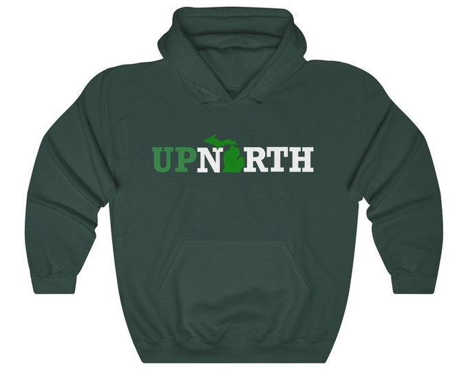 Hooded Sweatshirt - Up North Michigan (green/white)