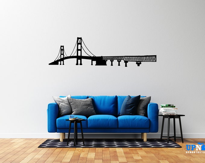 Mackinac Bridge - Vinyl Wall Decal - Multiple Sizes and Colors - Personalize for Free