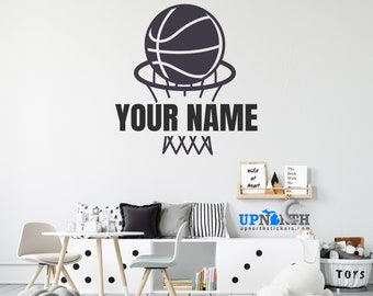 Basketball Net and Basketball Ball - Personalized Vinyl Wall or Vehicle Decal - Free Shipping