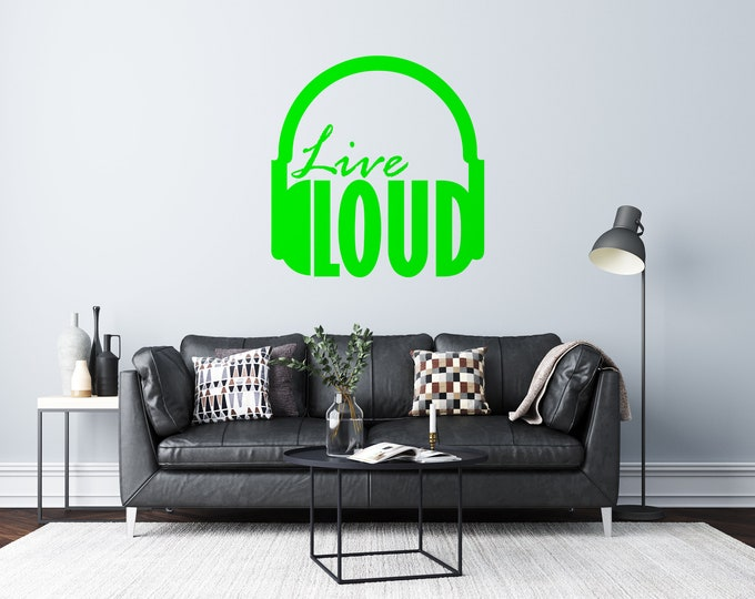 Live Loud - Headphones - Vinyl Wall Decal - Strong Michigan Roots - Multiple Sizes and Colors - Free Customization
