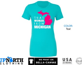 Women's Tee - That Woman From Michigan - Pink Mitten - Michigan Women's T-Shirt