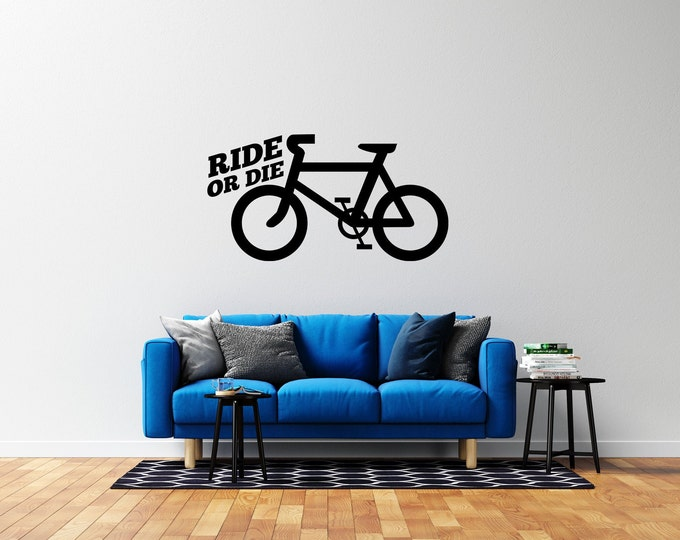 Bicycle - Born to Ride  - Vinyl Wall Decal - Multiple Sizes and Colors - Personalize for Free - Free Shipping