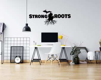 Michigan Roots - Vinyl Wall Decal - Strong Michigan Roots - Multiple Sizes and Colors - Free Customization