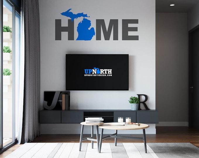 Michigan Mitten HOME - Custom Vinyl Wall or Vehicle Decal - Free Shipping