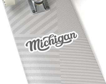 Stickers - Michigan Cursive (gray) - 4 Sizes