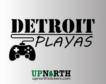 Detroit Playas Vinyl Decal - GAMER EDITION (Multiple Colors and Sizes)