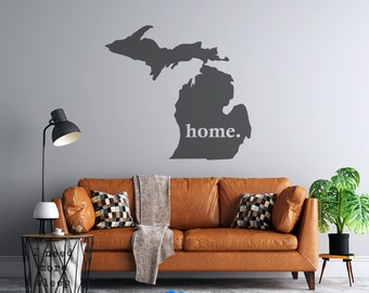 Michigan Home - Custom Vinyl Decal - Vehicle or Wall Decal - Free Shipping