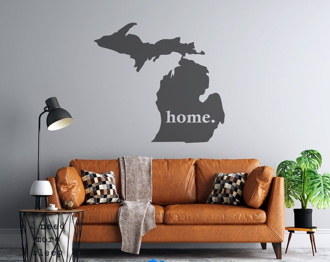 Michigan Home - Custom Vinyl Decal - Vehicle or Wall Decal - Multiple Sizes and Colors - Personalize for Free - Free Shipping - Mitten State