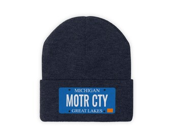 Embroidered Knit Hat - MOTR CTY (License Plate)