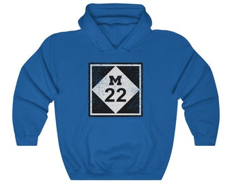 UpNorth Hoodies - M22 - Vintage Print - Michigan Highway