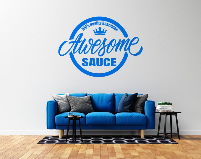 Awesome Sauce Logo - Vinyl Wall Decal - Multiple Sizes and Colors - Free Customization