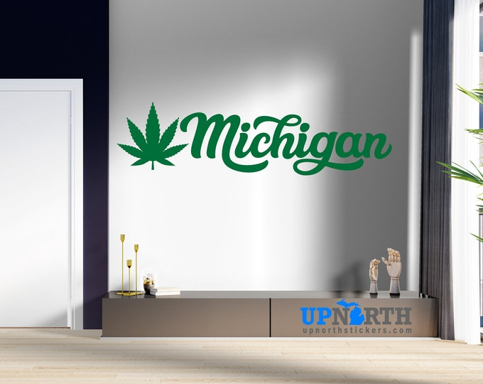 Michigan Marijuana Leaf - Cursive Lettering - Vinyl Decal - Free Shipping