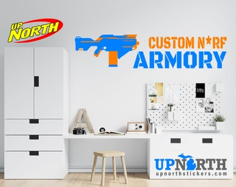 SMG 2 - Foam Dart Gun with Name - Personalized Vinyl Wall Decal - Free Shipping
